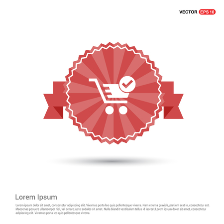 Shopping Cart and plus Sign - Red Ribbon banner Illustration