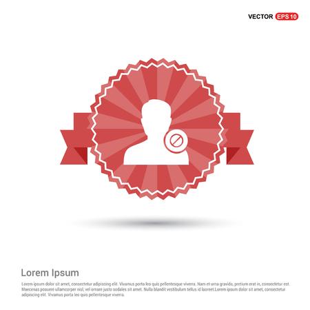 Block user icon. - Red Ribbon banner Illustration