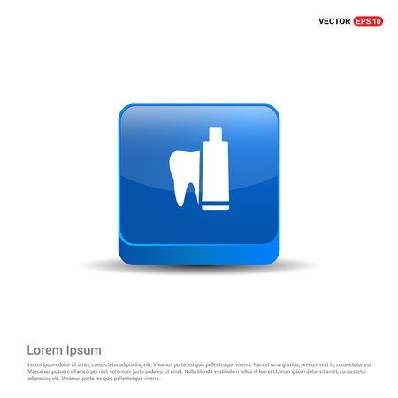 toothpaste and tooth icon - 3d Blue Button. Ilustração