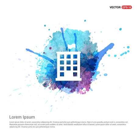 Building Icon - Watercolor Background