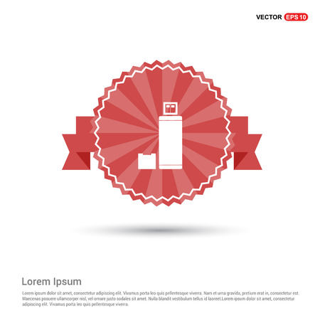 USB Icon - Red Ribbon banner