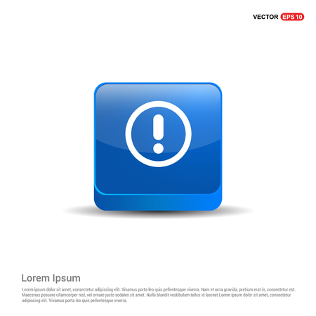 Warning Icon - 3d Blue Button.