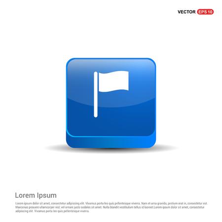 Flag icon - 3d Blue Button. Ilustração