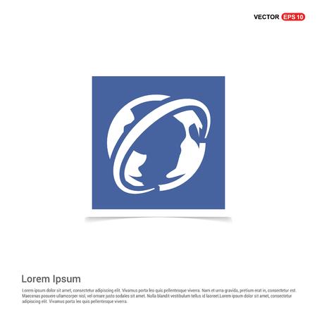 World globe icon - Blue photo Frame