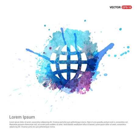 Globe Icon - Watercolor Background
