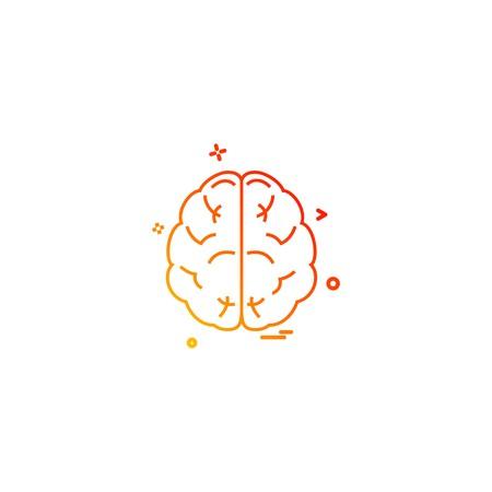 brain divide inkcontober sains icon vector desige