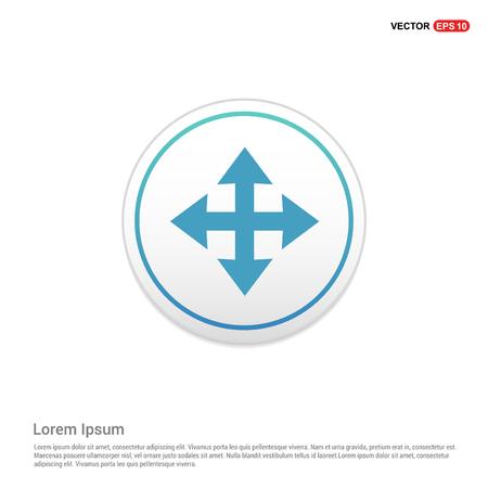 Vector four arrows icon - white circle button