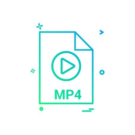 mp4 file file extension file format icon vector design Vektoros illusztráció