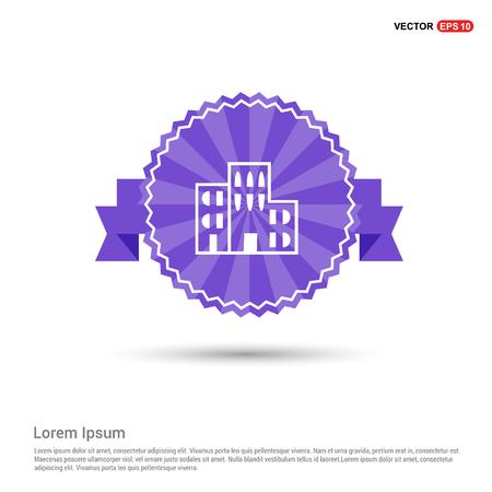 School Building Icon - Purple Ribbon banner
