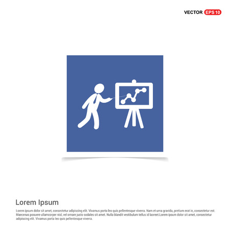 Business Man with Growing graph Icon - Blue photo Frame