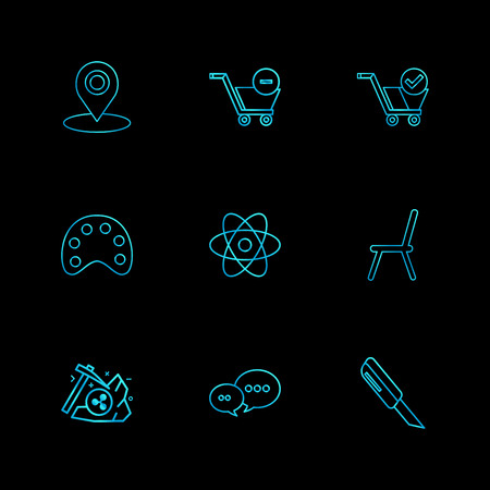 navigation , cart , paint, nuclear , chair, axe , chat, cutter , icon, vector, design,  flat,  collection, style, creative,  icons