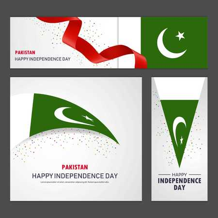 Happy Pakistan independence day Banner and Background Set