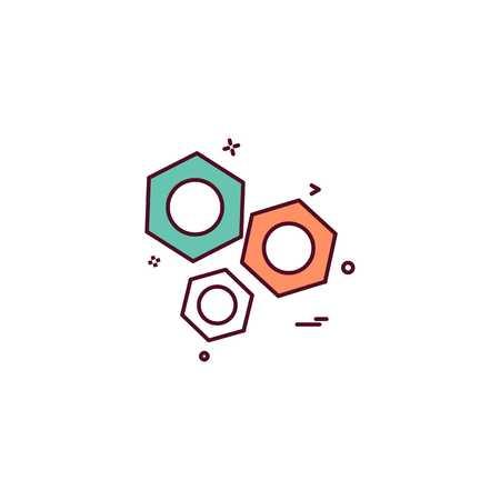 nuts tool construction icon vector Stock Illustratie