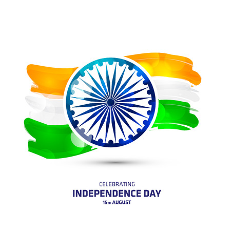 India independence day card with creative design and typography vector 일러스트