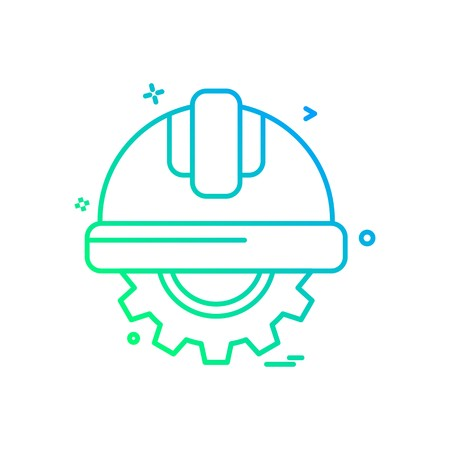 gear halmet  labor icon vector design