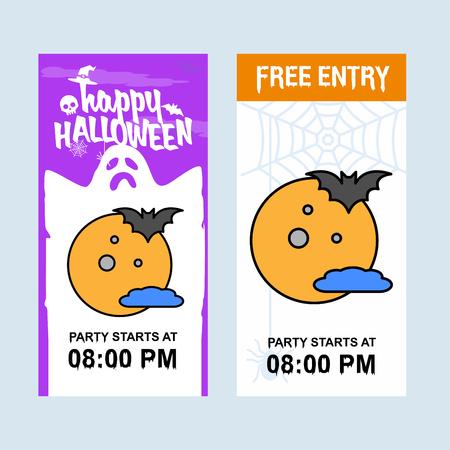 Happy Halloween invitation design with moon vector