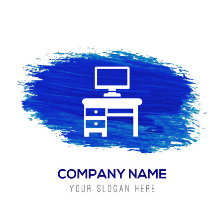 Computer Table Icon - Blue watercolor background