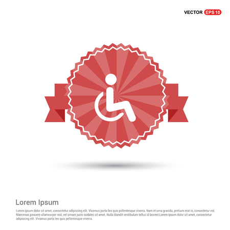 Disabled person icon - Red Ribbon banner