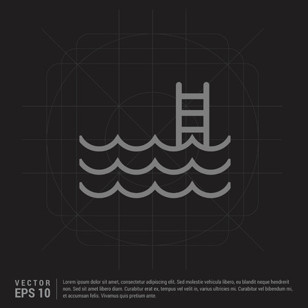 Water pool icon - Black Creative Background - Free vector icon