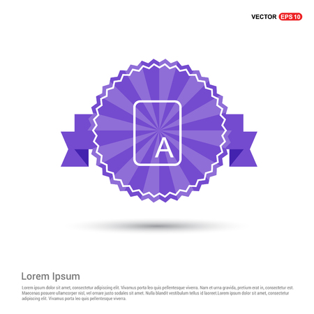 Letter Text Icon - Purple Ribbon banner