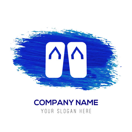 Swimming Slippers Icon - Blue watercolor background