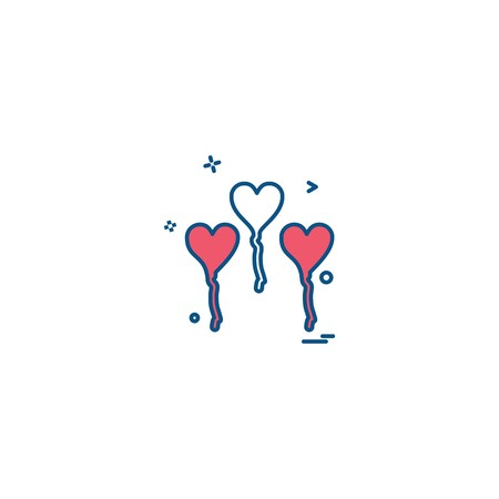Hearts balloons icons design vector