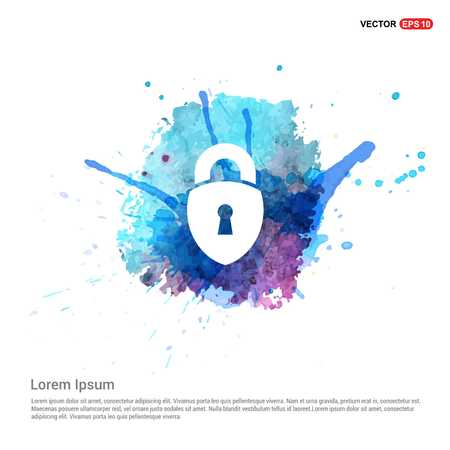 Web Lock Icon - Watercolor Background 向量圖像
