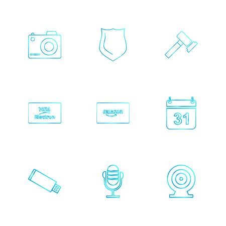 camera , sheild,  hammer , calender , amazon card , usb, microphone,  dart, visa icon, vector, design,  flat,  collection, style, creative,  icons