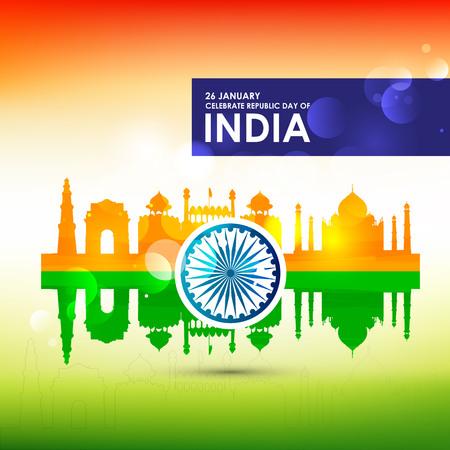 Karta dnia Republiki Indii z typograficznym wektorem tła