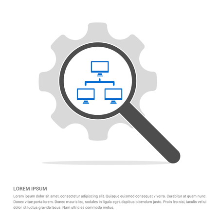 Hierarchical network icon - Free vector icon Illustration