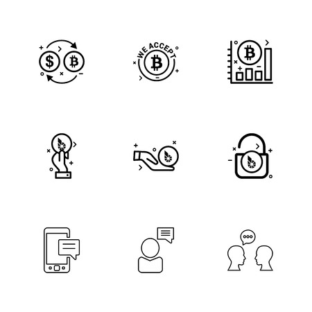Bit coin ,  crypto currency , graph , chart , lock , unlock , mobile , chat , conversartion , icon, vector, design,  flat,  collection, style, creative,  icons