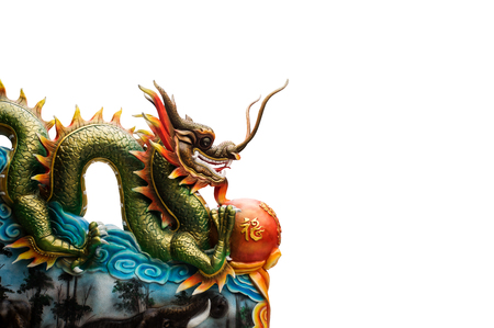resourceful: China dragon statue on the white background. save path.