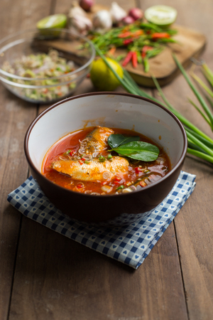 sardine can: Spicy mackerels salad in tomato sauce, Thai food