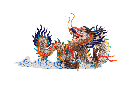 resourceful: China dragons statue on the white background. save path.