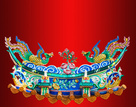 chinese phoenix: chinese phoenix statue on the red background. save path. Stock Photo