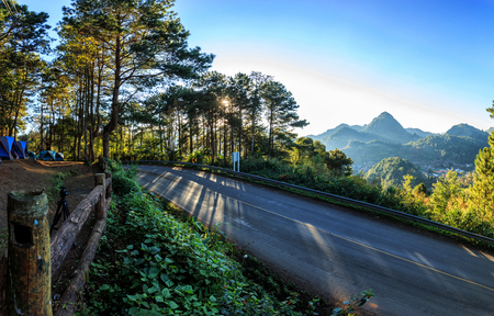 Panorama Lanscape of Countryside road at �Doi Ang Khang�, Thailand.