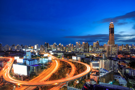 Cityscape bangkok city of Thailand, Bangkok city central business downtown with highway interchanged,