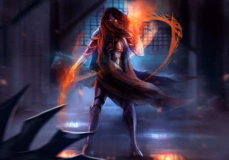 Fantasy warrior woman attack with fire chains action illustration  Stock Photo