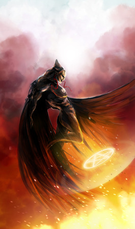 Demon flying with fire magic shield under him