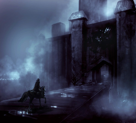 fantasy castle: Night castle Foggy night castle with a horseman riding