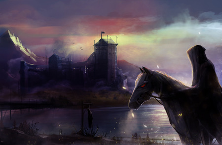 Black horseman castle  Fantasy black horse rider with background castle view illustration  Archivio Fotografico