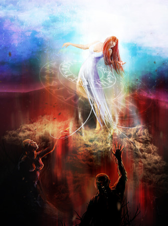 Goddess fighting demons with sorcery and magic