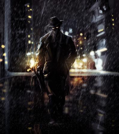 Detective Noir detective lopen van een nacht stad lichten Stockfoto