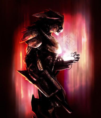 fantasy warrior: Bird robot warrior