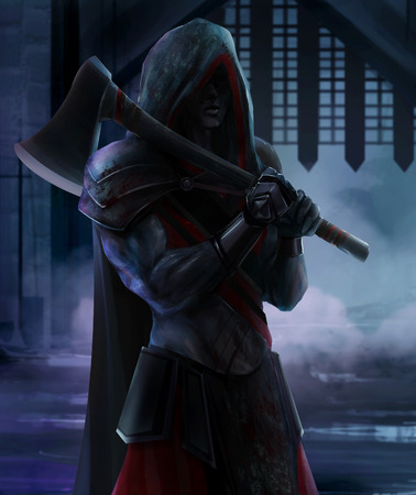 Executioner standing with axe photo