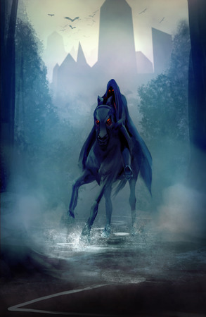 Black fantasy horseman with hood riding in dark forest road illustration  Archivio Fotografico