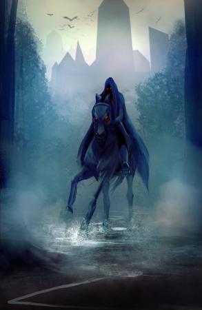 Black fantasy horseman with hood riding in dark forest road illustration  Stockfoto