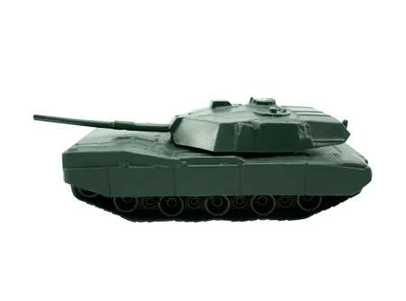 Toy tank  Isolated green plastic war tank standing on white background  photo