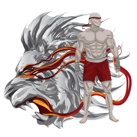 Muay Thai fighter with lion head illustration. Stock Photo