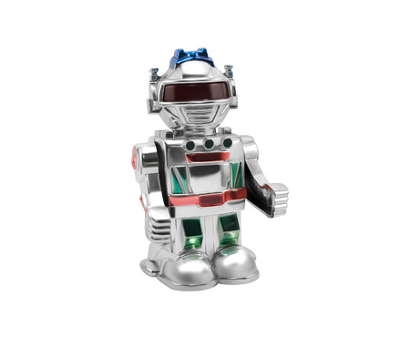Silver toy robot.Isolated silver toy robot standing on white background.